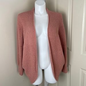A New Day Balloon Sleeve Rose Color Cardigan